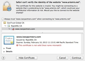 Safari Certificate Error